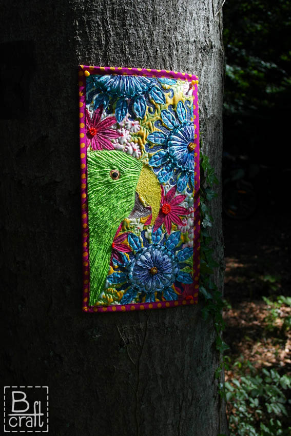 Patchwork with parrot