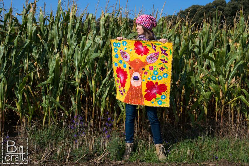 Art quilt z sarną